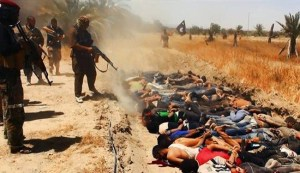 The file image shows ISIL terrorists executing dozens of captured Iraqi security forces members at an unknown location in the Salaheddin province.